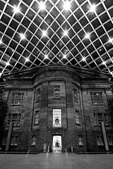 Old Building, New Roof (tklancer) Tags: blackandwhite bw architecture night canon washingtondc smithsonian dcist modified nationalportraitgallery eos30d reynoldscenter americanartmuseum kogodcourtyard tklancer