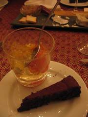 chocolate gateau and gelee of champagne with citrus fruits