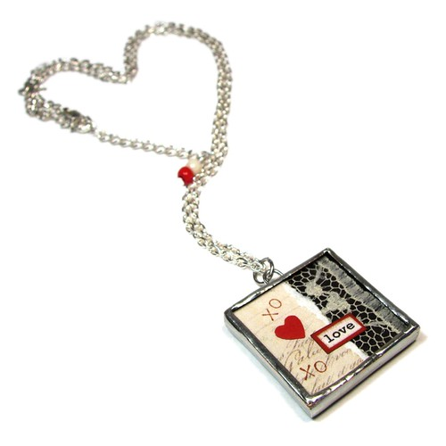 Love & Lace Collage Pendant