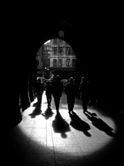 Time to shine (ro_nya) Tags: street city urban bw london silhouette walking interestingness shadows explore holborn ronya backsight ramonschackde ramonschack waterhousesquare