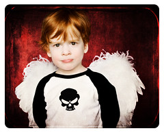 """I'm not angel, I'm Liam!"" (wishdream {lindsey}) Tags: boy red texture angel skull redhead frown"