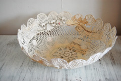 new bowl (ATLITW) Tags: white art vintage handmade embroidery textile eclectic homedecor
