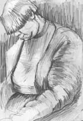 No 105 Woman on the bus (Nu Scot) Tags: portrait woman white black bus monochrome sketch ebay drawing auction line journey passenger dailydraw2008