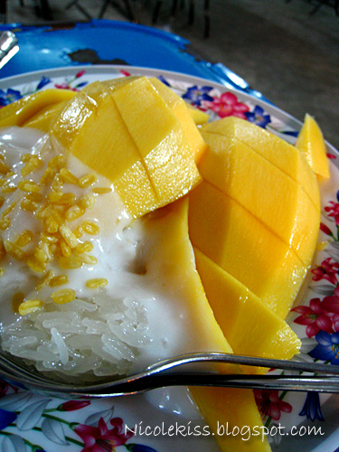 mango sticky rice and coconut milk