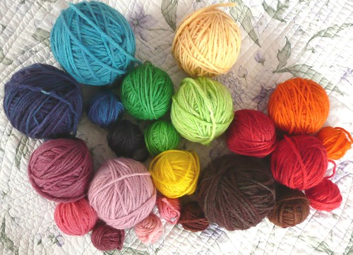All my hand dyed wool yarn