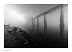 Inversion / Forth Rail Bridge (Andrew James Howe) Tags: andrewhowe architecture blackandwhite bridge clouds mist dawn engineering forthbridge forthrailbridge industrial light landscape mono nikon reflections reflection firthofforth sky trains railways