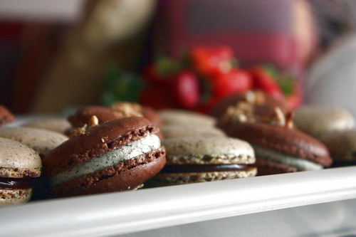 chocolate black sesame macaron