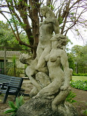 Nymphs and Satyr (travellingcharl) Tags: woman statue nude concrete breasts sydney australia bluemountains satyr nymphs normanlindsay