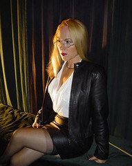 leather fem kari (karilyn_tg) Tags: stockings leather early transgender tranny too blouses ffnylons dressingwhite