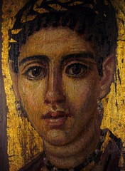 Fayum (or Fayoum) mummy portrait of a young woman with a gilded wreath (ggnyc) Tags: nyc newyorkcity museum painting egypt mummy met encaustic funerary metropolitanmuseumofart ancientegypt egyptology egyptianart grecoroman fayum fayoum mummyportrait egyptianwing romanperiod fayumportrait fayoumportrait