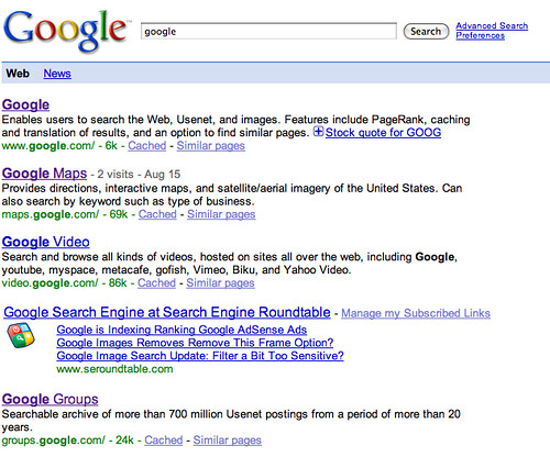 Google Subscribed Links in SERPs