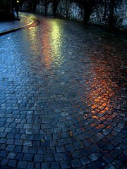 wet morning (overthemoon) Tags: morning light wet rain reflections dark walking person switzerland early interestingness explore gloom lamps cobbles footpath vevey romandie artlibre chemindelespérance 6setcobbles