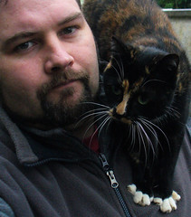 Me and Sardine (sam2cents) Tags: friends pet man me cat buddies pals tortoiseshell claws interspecies felisdomesticus wowiekazowie diamondclassphotographer