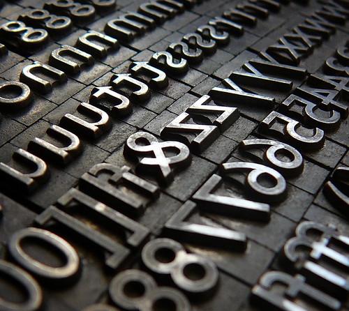 metal letterpress type blocks