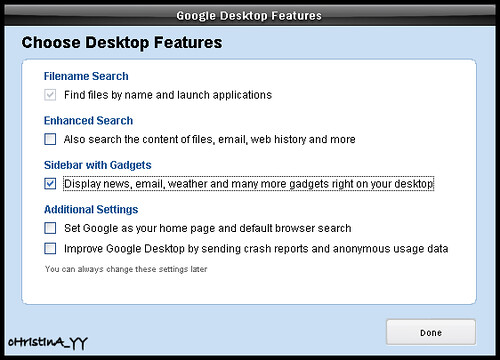 Google Desktop: Choose Desktop Features