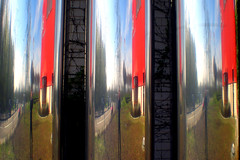 three mirroring (Wollbinho) Tags: red germany deutschland mirror three spiegel tubes spiegelung mannheim chrom drei mirroring novideo badenwrttemberg rohre kurpfalz wollbinho wwwflickrcomgroupsilikeit thomaswollbeck wollbeck mannheimat madewithloveinmannheim