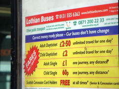 Out of date prices being advertised at bus stop for Lothian buses, Edinburgh