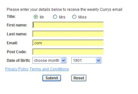 Currys email sign up form