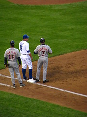 Andy, Pudge, and some Royals dude (gohomekiki) Tags: baseball tigers royals firstbase