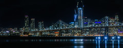 winter's calm (pbo31) Tags: portofoakland eastbay alamedacounty nikon d810 black color night dark boury pbo31 february 2017 winter port oakland sanfrancisco city skyline bridge 80 baybridge reflection bay water middleharborshorelinepark blue construction salesforce panorama large stitched panoramic pier financialdistrict cbd 181fremont prescott