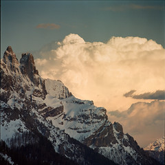 intermission (giancarlo rado) Tags: clouds analog hasselblad dolomites dolomiti paledisanmartino platinumphoto velodellamadonna sassmaor sonnar25056 vanoicuoreverdedeltrentino paesaggivanoi picturespeopleitaly
