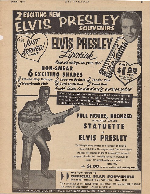 June 1957 Hit Parader Magazine (Elvis Merch. Ad)