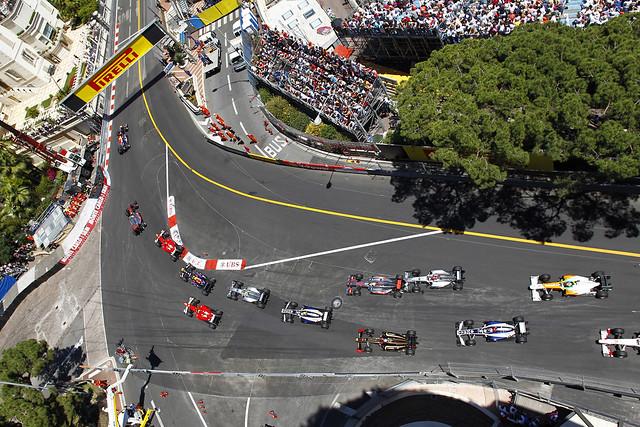 The start of the Monaco grand prix 2011