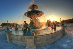 Fountain, Paris (The Other Martin Tenbones) Tags: sunset paris france fountain fisheye concorde hdr 400d