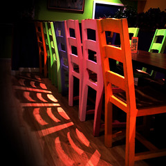 before the party, the chairs held a meeting (Super G) Tags: pink shadow red green purple chairs meeting colorphotoaward diamondclassphotographer flickrdiamond margaritasrestaurant ilikethisrestaurantbecauseithasgreenwalls notthatmanyrestraurantshavewallsofthiscolor hmmmexactlywhattagsdoyouaddtoaphotolikethis