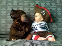 Who dressed YOU? (juhansonin) Tags: baby cute halloween arlington children ma skull monkey costume kid outfit october toddler sitting child dress kate abby ivan dressup cc sofa pirate creativecommons license stare udo argh crossbones luka iphone kirigin cc3 sonin juhan juhansonin udosonin