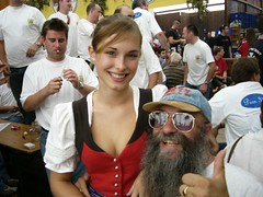 Cute Bavarian girl with Dirty Pierre (DirtyPierre) Tags: 2003 munich pierre oktoberfest dirty kiwis tshirts beerfest aussies dirtypierre