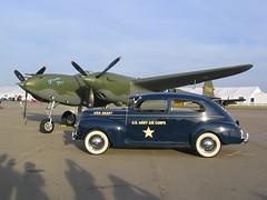 "P-38 ""Glacier Girl"" & Vintage Car (carabino) Tags: columbus ohio fall girl roadtrip glacier airshow gathering legends oh mustangs 2007 rickenbacker p38 gml2007"