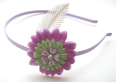 Purple and Green Vintage Flowers Headband
