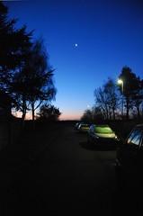 Streetlight vs. Moon (Johan of Denmark) Tags: blue moon dawn lowlight blues aubade