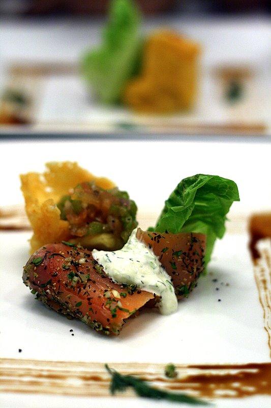 Salmon Gravlax with Parmesan Tuile