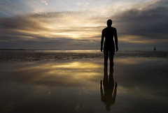 Waiting (BarneyF) Tags: sea reflection beach silhouette statue liverpool bravo place anthony another gormley crosby gapc magicdonkey superaplus aplusphoto diamondclassphotographer