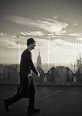 (Rodrigo Daguerre) Tags: sky newyork man guy skyline clouds walking skyscrapers terrace walk manhattan horizon empirestatebuilding rockefeller bowler bigapple topoftherock lightroom gebuilding totr