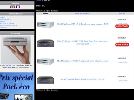 Capture de la page produits