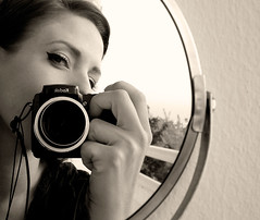 mirror (Orsi Gyre) Tags: camera blackandwhite selfportrait me myself mirror bwwoman hungarianmirror