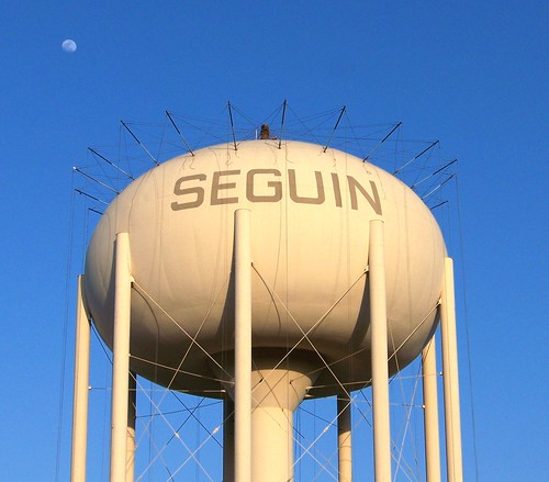 Water Tower with Moon closeup