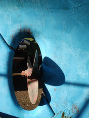 blue blades (laup) Tags: blue light white colour yard boats rust washed streaks fins shipshape rudders boatbits