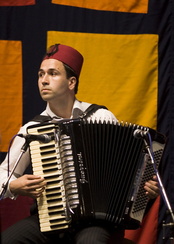 Mirza Bašić playing Sevdalinkas on accordion in Barbican Centre in London