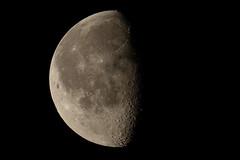 Half Moon 2 (Jason Idzerda) Tags: summer sky moon ontario canada black night canon relax evening mac backyard tripod relaxing 300mm l 2009 gitzo brampton extender 2x gitzotripod 14x 14xextender 2xextender macbookpro 40d canonef300mmf28l