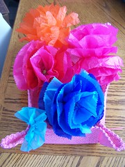Tissue Flowers in Placemat Basket