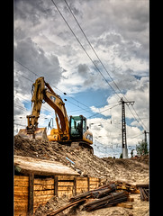 Construction Site (Sven Hein) Tags: sky yellow clouds site spring himmel wolken baustelle gelb constructionsite hdr frhling excavator bagger