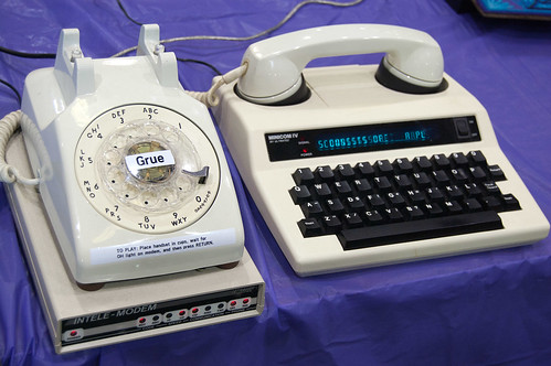 The text-based game Zork being played via teletype machine