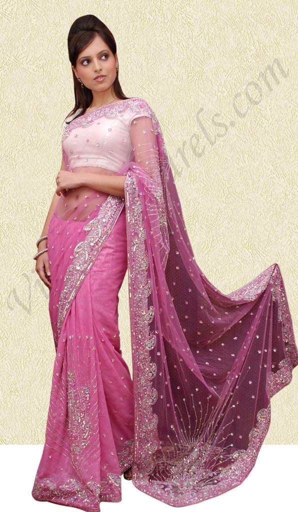 Pink Net Shiffon Saree