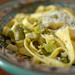 Fresh pasta with fresh fava beans and farm egg