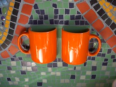 bathroom toothbrush holders (Mosaik!!!) Tags: orange bathroom catchycolours cups toothbrush