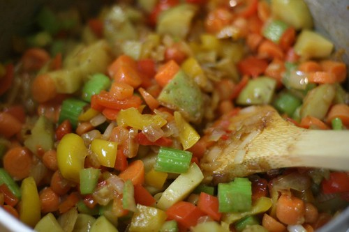 Get those colorful veggies sauteing!